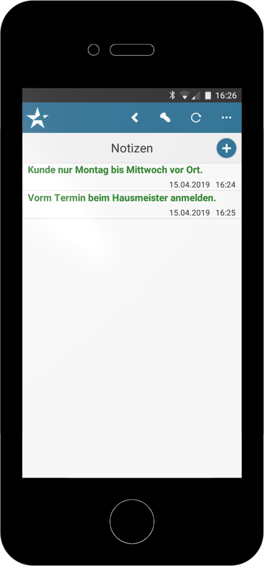 Handwerkersoftware Interstar Mobile Notizen